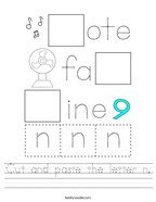 Cut and paste the letter n Handwriting Sheet