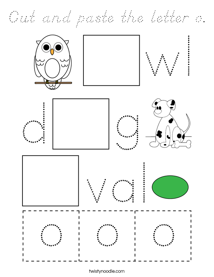 Cut and paste the letter o. Coloring Page