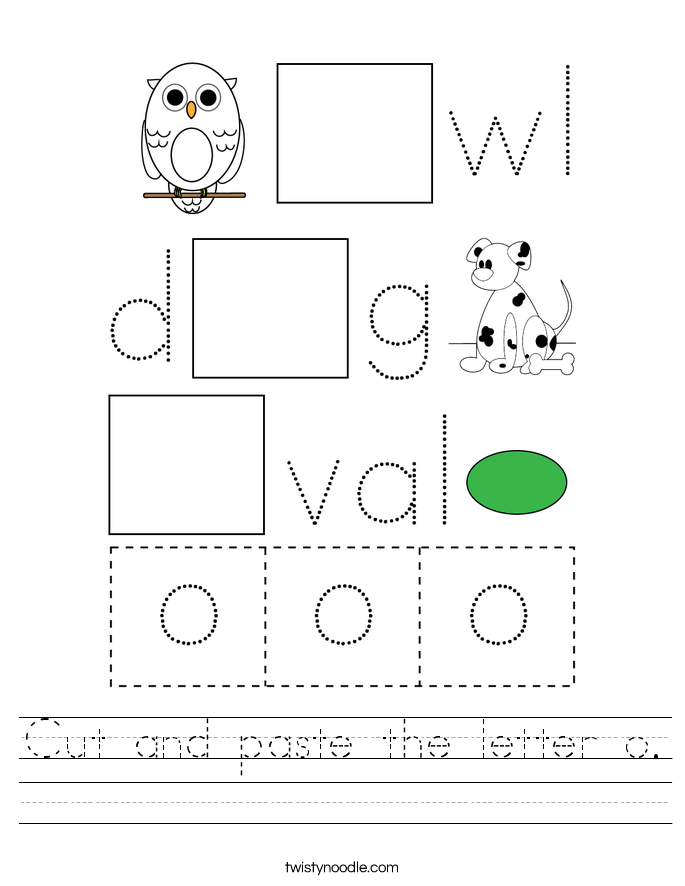 Cut and paste the letter o. Worksheet