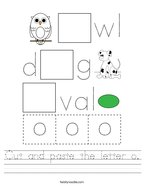 Cut and paste the letter o Handwriting Sheet