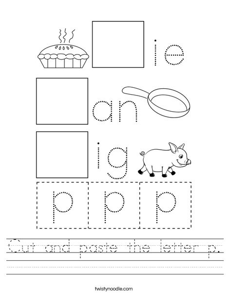 Cut and paste the letter p. Worksheet