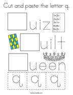 Cut and paste the letter q Coloring Page