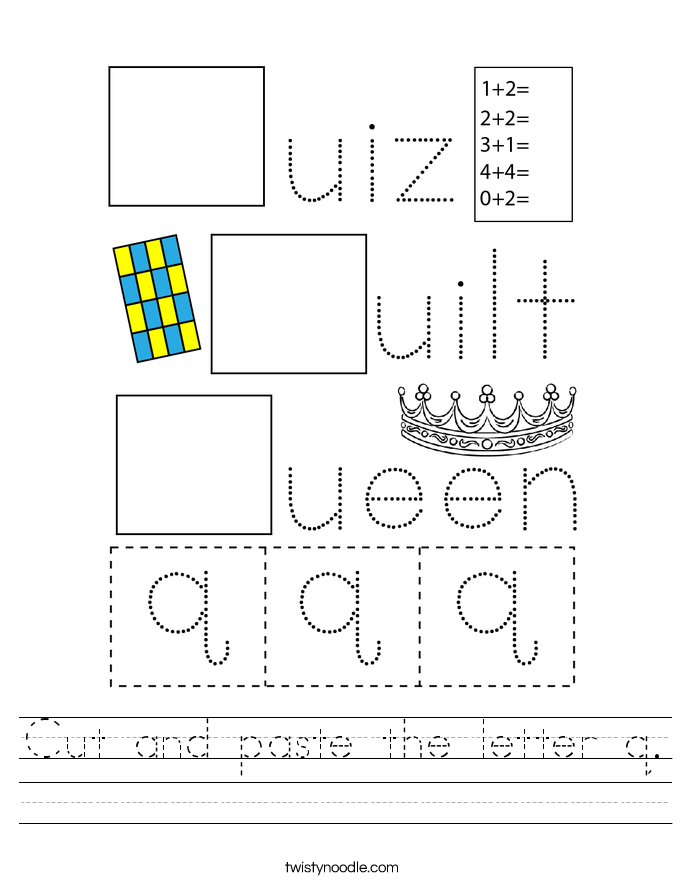 Cut and paste the letter q. Worksheet