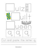 Cut and paste the letter q Handwriting Sheet