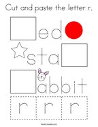 Cut and paste the letter r Coloring Page