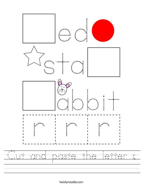 Cut and paste the letter r. Worksheet
