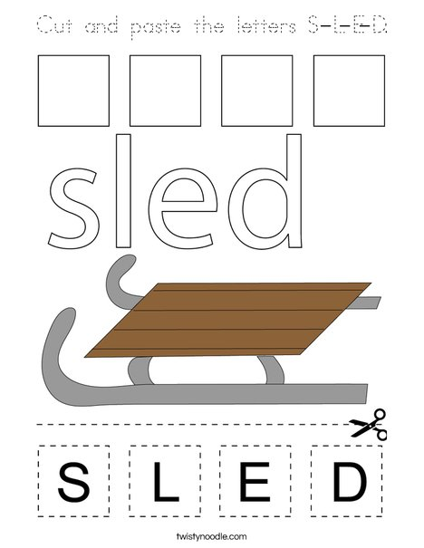 Cut and paste the letter S-L-E-D. Coloring Page