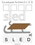 Cut and paste the letters S-L-E-D. Coloring Page