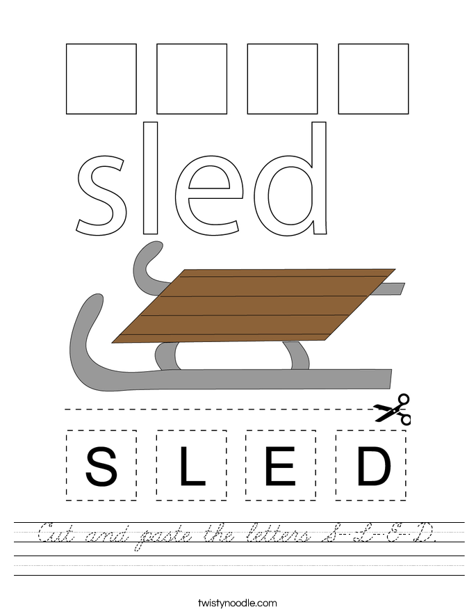 Cut and paste the letters S-L-E-D. Worksheet