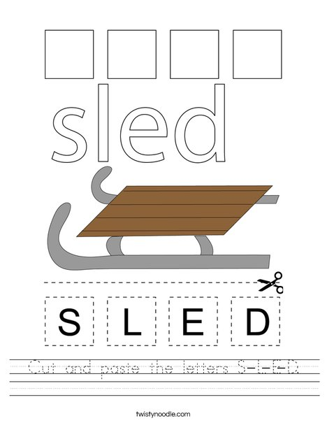Cut and paste the letter S-L-E-D. Worksheet