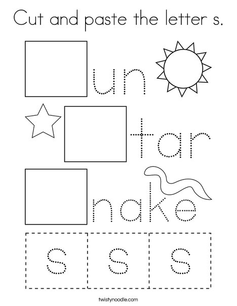Cut and paste the letter s. Coloring Page