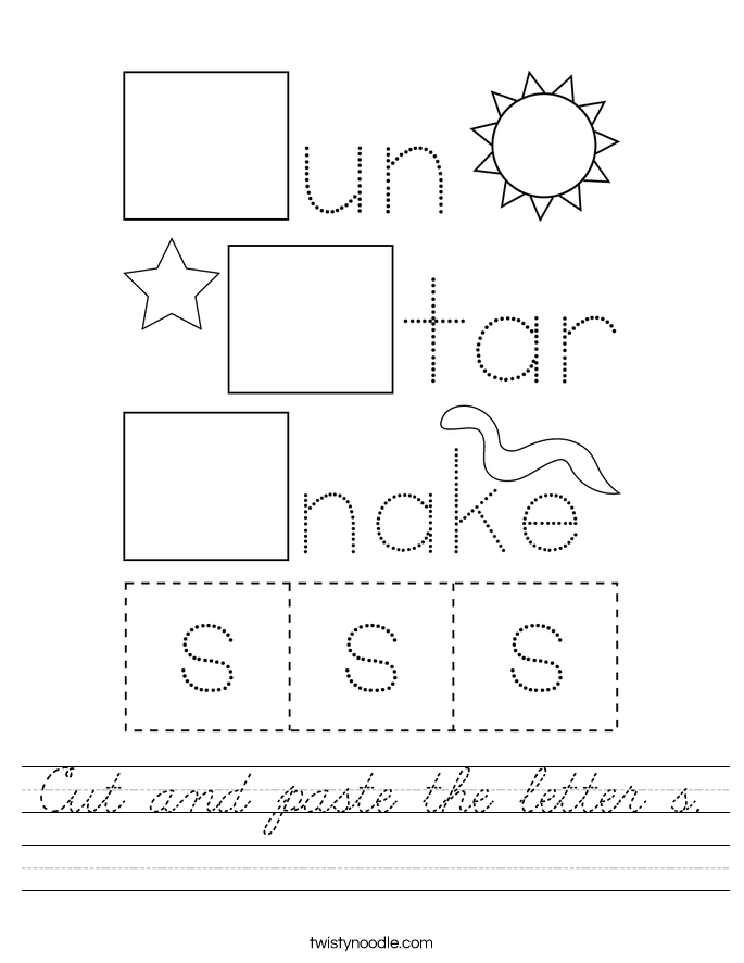 Cut and paste the letter s. Worksheet