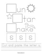 Cut and paste the letter s Handwriting Sheet