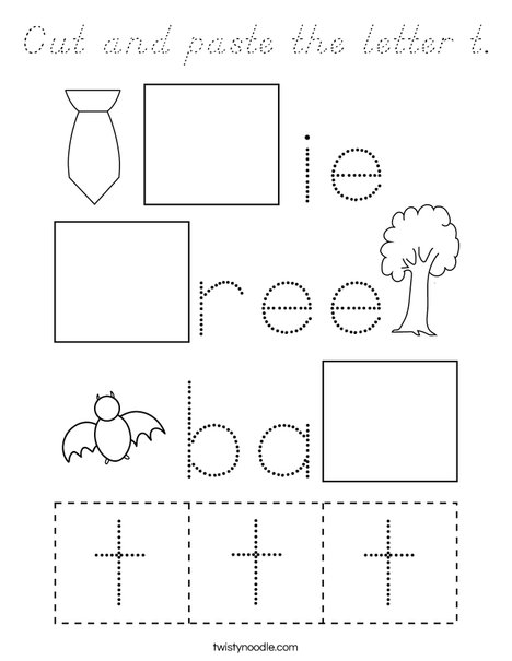 Cut and paste the letter t. Coloring Page