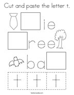 Cut and paste the letter t Coloring Page