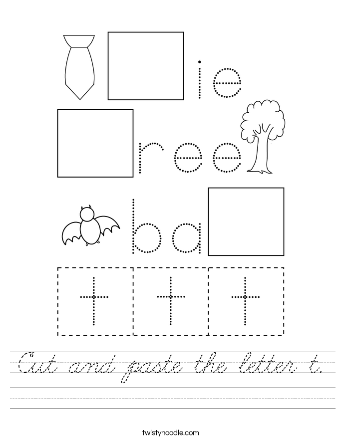 Cut and paste the letter t. Worksheet