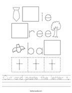 Cut and paste the letter t Handwriting Sheet