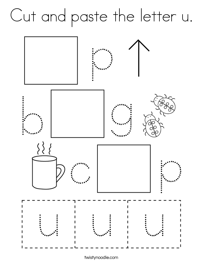 Cut and paste the letter u. Coloring Page