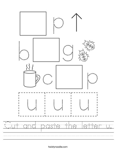 Cut and paste the letter u. Worksheet