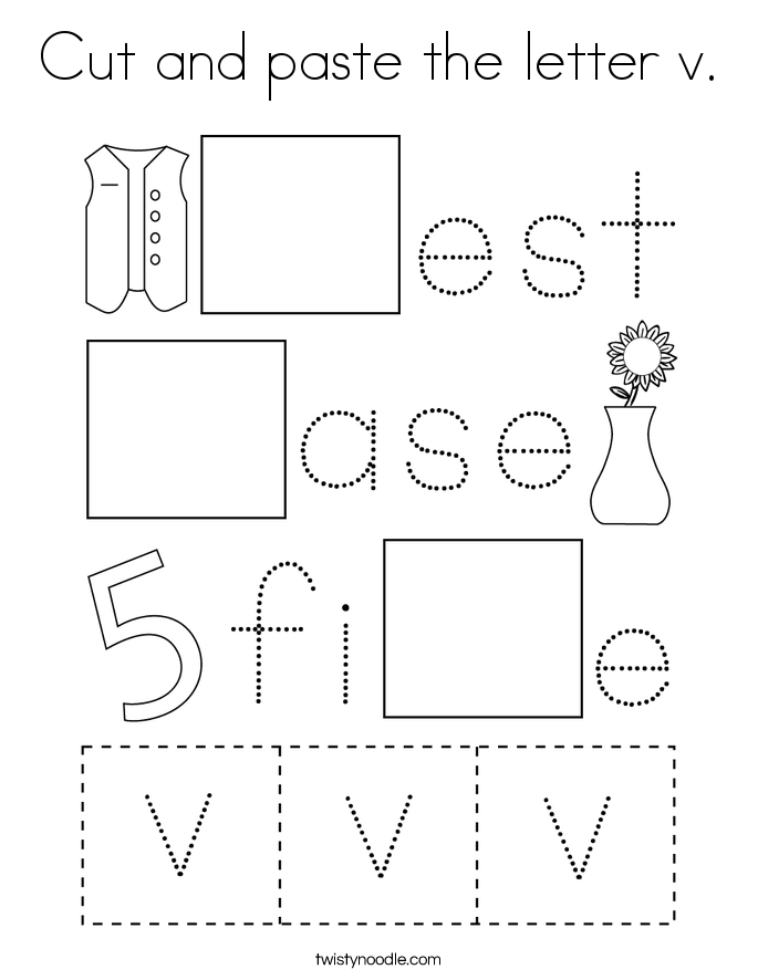 Cut and paste the letter v. Coloring Page