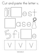 Cut and paste the letter v Coloring Page