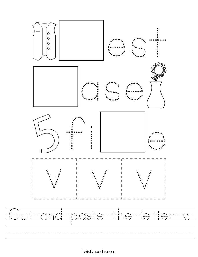 Cut and paste the letter v. Worksheet