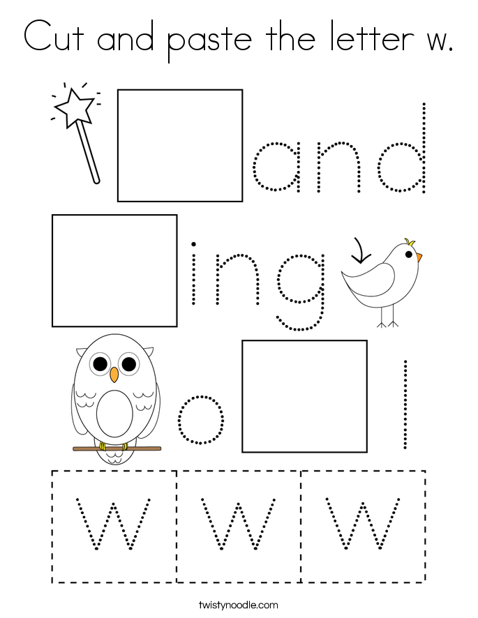 Cut and paste the letter w. Coloring Page