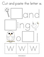Cut and paste the letter w Coloring Page