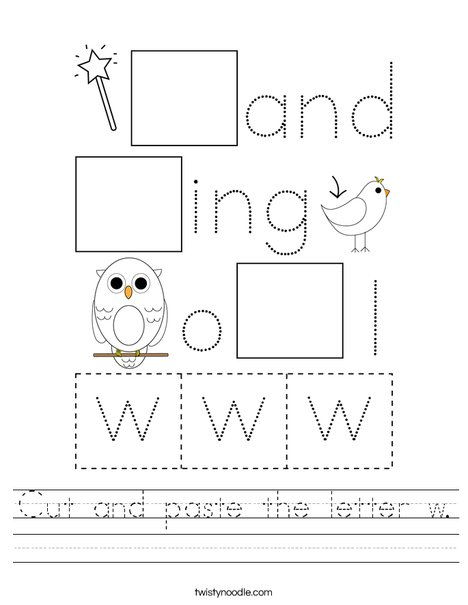 Cut and paste the letter w. Worksheet