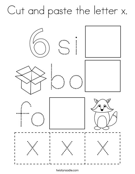 Cut and paste the letter x. Coloring Page