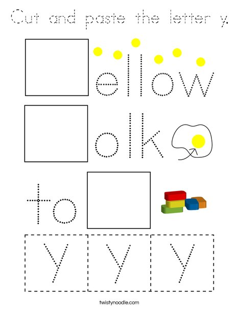 Cut and paste the letter y. Coloring Page