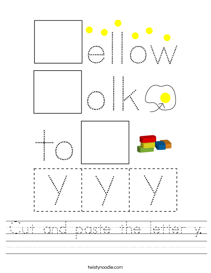 Cut and paste the letter y. Worksheet