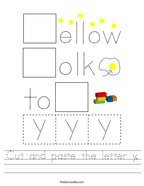 Cut and paste the letter y Handwriting Sheet