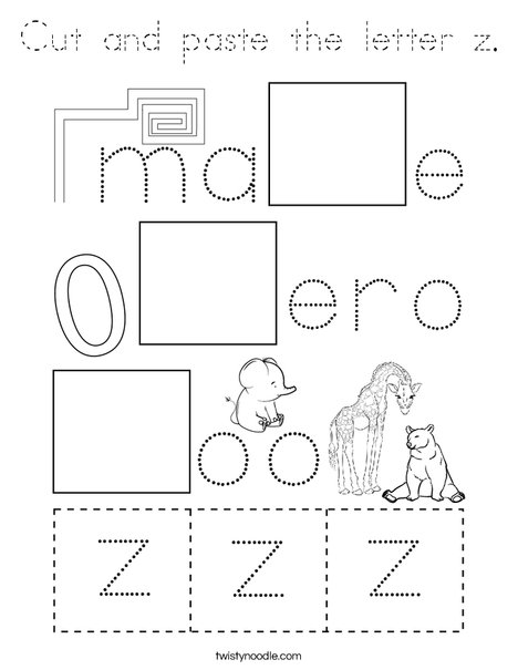 Cut and paste the letter z. Coloring Page