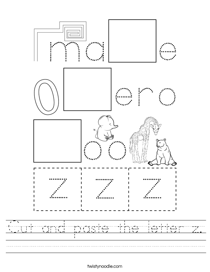 Cut and paste the letter z. Worksheet