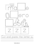 Cut and paste the letter z Handwriting Sheet
