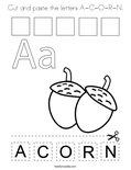 Cut and paste the letters A-C-O-R-N. Coloring Page