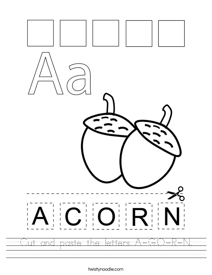 Cut and paste the letters A-C-O-R-N. Worksheet