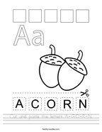 Cut and paste the letters A-C-O-R-N Handwriting Sheet