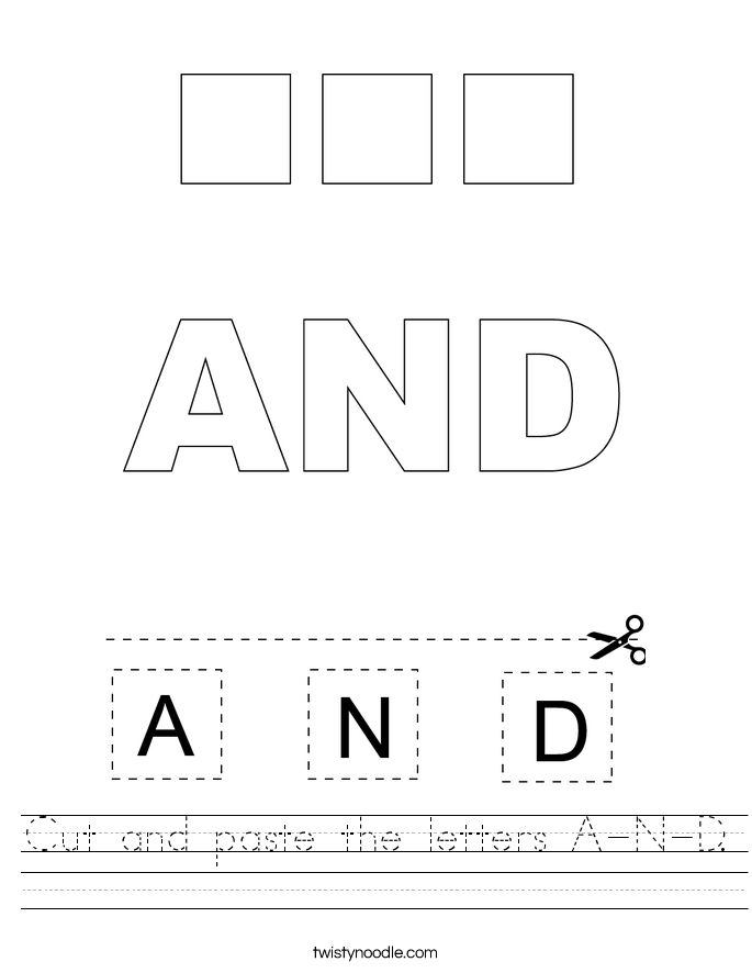 Cut and paste the letters A-N-D. Worksheet