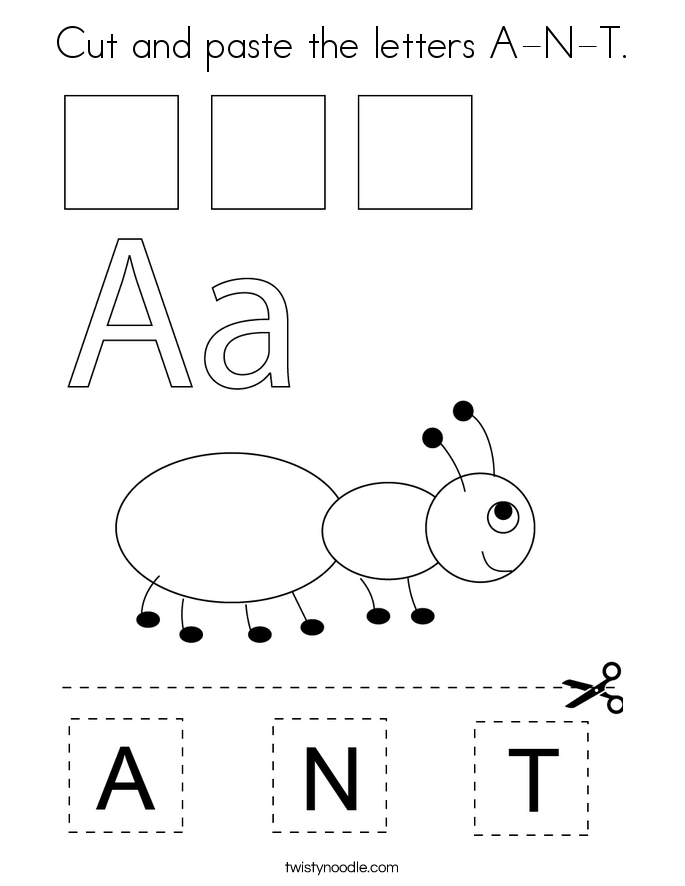 Cut and paste the letters A-N-T. Coloring Page