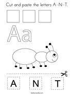 Cut and paste the letters A-N-T Coloring Page
