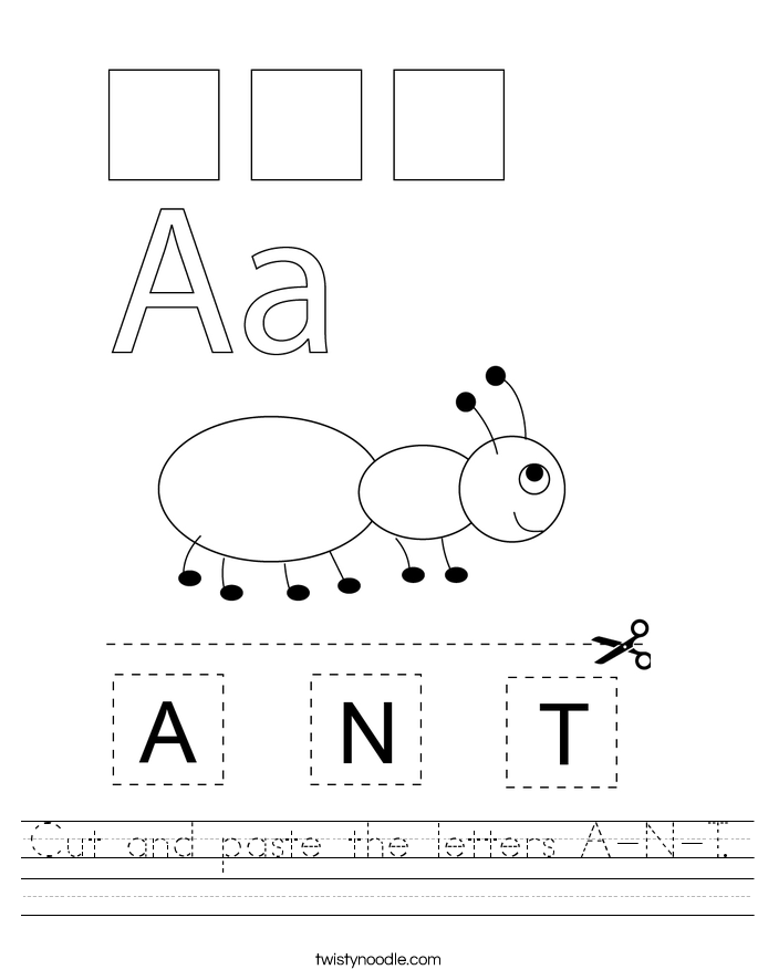 Cut and paste the letters A-N-T. Worksheet