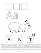 Cut and paste the letters A-N-T Handwriting Sheet