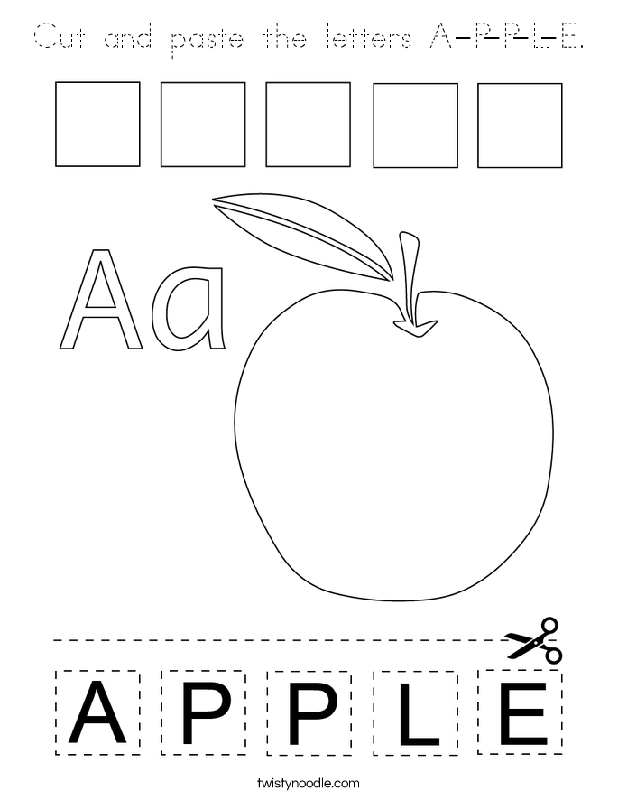 Cut and paste the letters A-P-P-L-E Coloring Page
