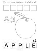 Cut and paste the letters A-P-P-L-E. Coloring Page