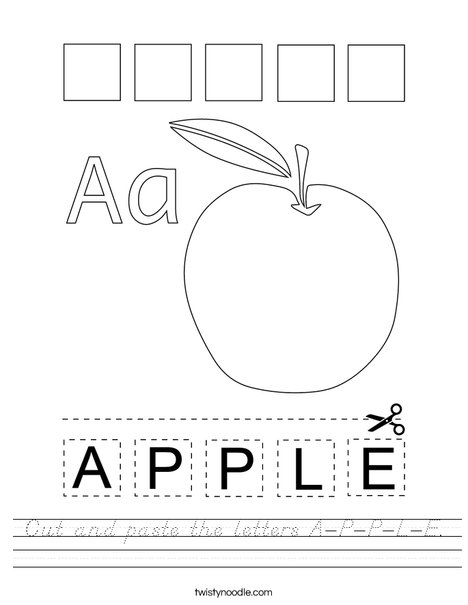 Cut and paste the letters A-P-P-L-E. Worksheet