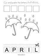 Cut and paste the letters A-P-R-I-L Coloring Page