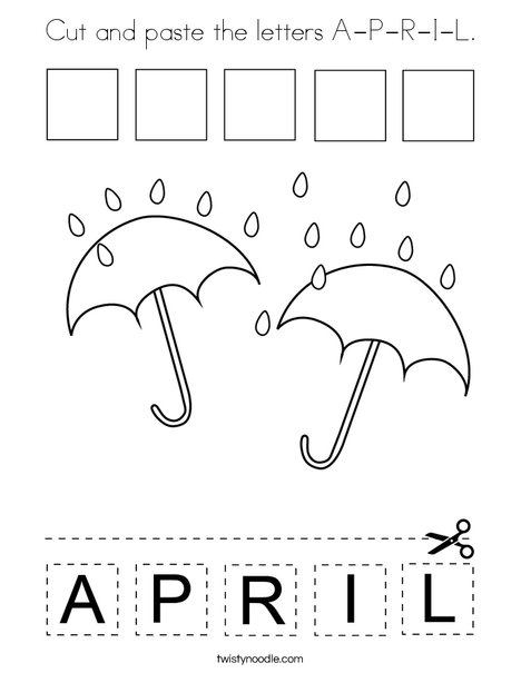 Cut and paste the letters A-P-R-I-L. Coloring Page