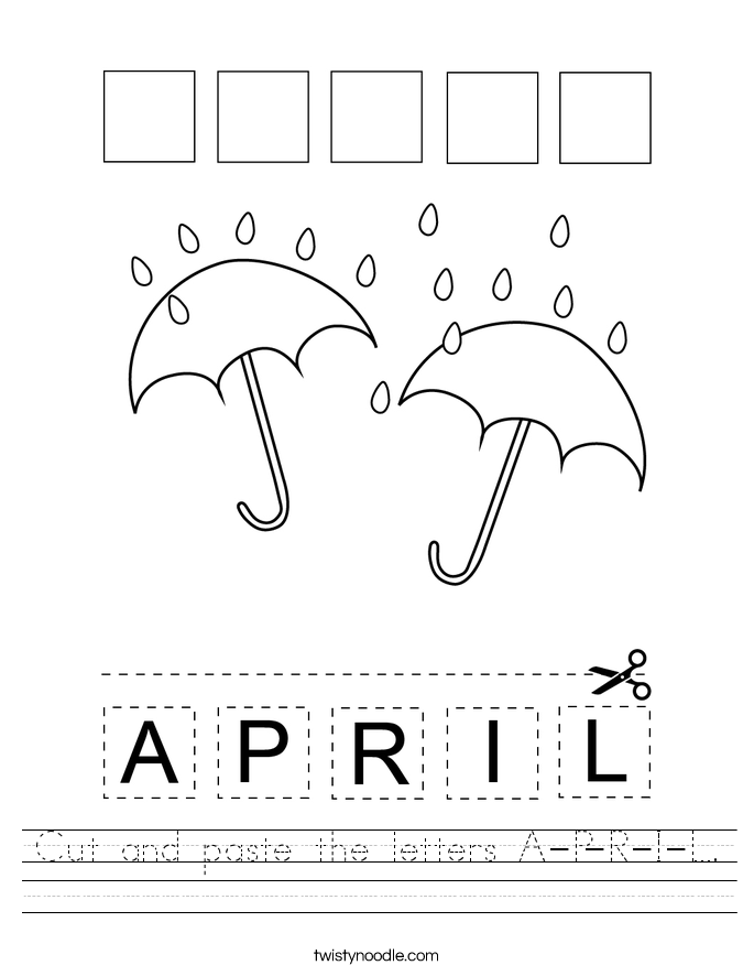 Cut and paste the letters A-P-R-I-L. Worksheet